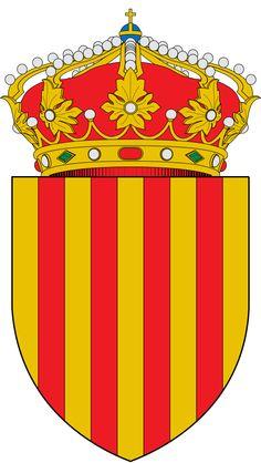 Escudo de Cataluña - Cataluña - España. Es una comunidad autónoma española considerada como nacionalidad histórica, situada al nordeste de la península ibérica. Ocupa un territorio de unos 32 000 km² que limita al norte con Francia (Mediodía-Pirineos y Languedoc-Rosellón) y Andorra, al este con el mar Mediterráneo a lo largo de una franja marítima de unos 580 kilómetros, al sur con la Comunidad Valenciana, y al oeste con Aragón.