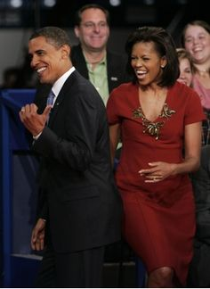 President Obama and Michelle Obama he like can u believe her