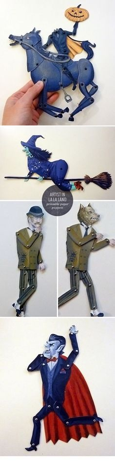 Printable Halloween Paper Puppets http://papercrave.com/printable-halloween-paper-puppets-by-artist-in-la-la-land/