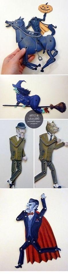 Printable Halloween Paper Puppets http://papercrave.com/printable-halloween-paper-puppets-by-artist-in-la-la-land/