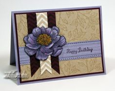"""LW Designs: Wisteria Bloom   Bloom With Hope hostess set colored with Wisteria Wonder Blendies...(with a touch of Rich Razzleberry)  The background was stamped in Crumb Cake using the leafy branch image. Gorgeous Grunge rough line image adds a little texture to the """"happy birthday"""" strip. The chevron design is from Work of Art and is stamped in Blackberry Bliss."""