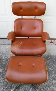 Vintage MCM Modern Eames Style Armchair Lounge Chair And U0026 Ottoman Retro  Leather