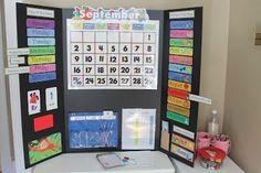 Awesome idea for Preschool at Home calendar.  OR could be in a small classroom.  Just put it on a tri fold board and fold it up if needed.