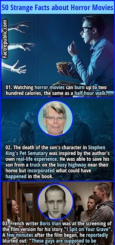 Watching horror movies can burn up to two hundred calories, the same as a half hour walk. Movie Facts, Funny Facts, Weird Facts, Random Facts, Strange Facts, Boris Vian, Small Movie, Here's Johnny, Pet Sematary