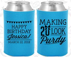 20th Birthday, 20th Birthday Party, Making 20 look Purdy, Happy Birthday Party, Birthday Can Coolers, Birthday Coolies (20021)