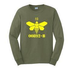 00892-B Long Sleeve T-Shirt Breaking Meth Bad Chinese China Drum Heisenberg Los Pollos Hermanos Vominos Pest A-1 Walter Chickn Long Sleeve Tee 2XL Military Green