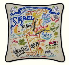 Israel Embroidered Pillow from southern|ELEVATION