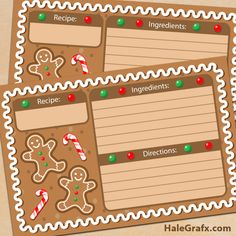 FREE Printable Christmas Gingerbread Recipe Cards-  Click the download link in green under the image! save the zipfile as!
