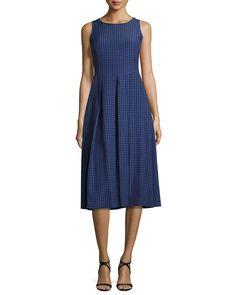 Armani Collezioni Seersucker Sleeveless Midi Dress, Blue/Multi