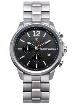 Hush Puppies Orbz Men's Automatic Watch with Black Dial Analogue Display and Silver Stainless Steel Bracelet HP.6065M.1.1502: Amazon.co.uk: ...