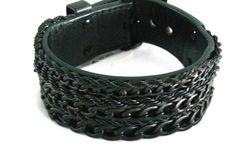 Emporio Armani Black Multi Steel Chain Leather Cuff Bracelet EGS1382001 #EmporioArmani #Cuff