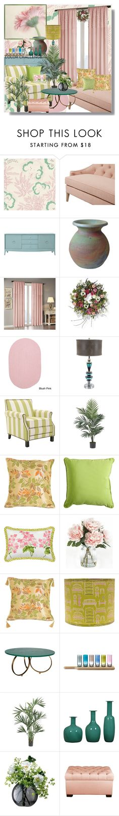 """Color Challenge: Green and Blush"" by ann-kelley14 on Polyvore featuring interior, interiors, interior design, home, home decor, interior decorating, Dana Gibson, Redford House, Madison Park and Frontgate"