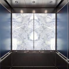 Vitraprint inspiration - LEVELe Interior with LightPlane Panels in ViviStone Pearl Onyx glass. Elevator Design, Stair Lift, Lounge Design, Marble Wall, House Elevation, Office Interior Design, Commercial Interiors, Glass Design, Interior Inspiration