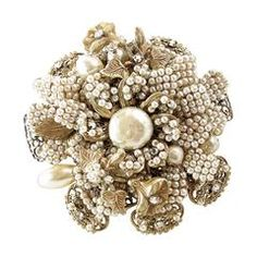 Vintage 50s Signed Miriam Haskell Rare Seed Pearl Pin