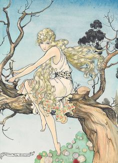 """illustration from """"The Black Princess and other tales from Brazil"""". (""""The golden haired maiden"""")"""