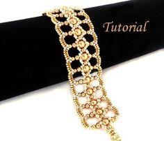 Tutorial Let It Shine Bracelet...Gorgeous bracelet with Swarovski bright gold pearls and Miyuki seed beads. Beading instruction for Let It Shine Bracelet..