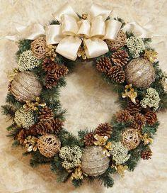 Spring Wreath Winter Wreath Cream and Gold by BrandyByDesignLtd Homemade Christmas Wreaths, Pine Cone Christmas Tree, Christmas Ornament Wreath, Christmas Swags, Xmas Wreaths, Noel Christmas, Christmas Crafts, Front Door Christmas Decorations, Christmas Arrangements