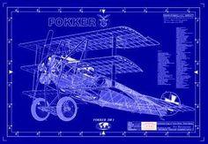 Fokker Triplane Aircraft Blueprint