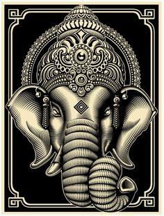 Ganesh black and white