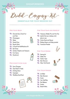 Wedding Checklist Bridal Emergency Kit Checklist by SingaporeBrides - Don't be caught off guard on your big day—pack these essentials in your Bridal Emergency Kit and you'll be ready to handle whatever comes your way. Bridal Shower Checklist, Wedding Day Checklist, Wedding Planning Timeline, Budget Wedding, Wedding Tips, Dream Wedding, Wedding Checklists, Perfect Wedding, Wedding Blog