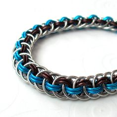 Chain mail Viper Basket bracelet in brown and turquoise by TattooedAndChained, $35.00