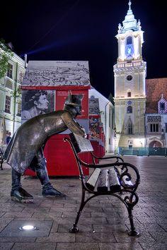 Street Sculpture in Bratislava, Slovakia.