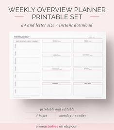 Weekly Overview Planner Printable Pack in landscape Work Planner, Agenda Planner, Blog Planner, Planner Pages, Weekly Planner, Weekly Schedule, Planner Ideas, Planner Inserts, Planner Template