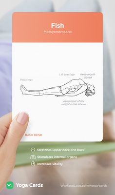 HOW TO: Fish yoga position – visual workout sequence pose and benefits guide for beginners from the YOGA CARDS deck by WorkoutLabs: http://WLshop.co