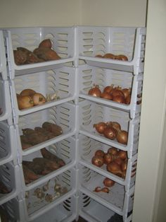 Vegetables stored in our closet during winter, kept in stackable storage units