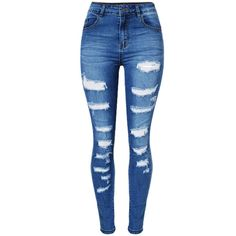 Patch Pocket Ripped Light Wash Slim-Leg Mid-Rise Jean ($35) ❤ liked on Polyvore featuring jeans, slim leg jeans, slim fit ripped jeans, destructed jeans, light wash distressed jeans and light wash ripped jeans