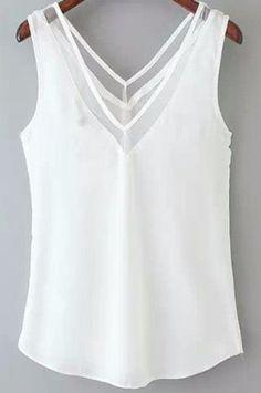 hermosa blusa en chifon escote en v con transparencia