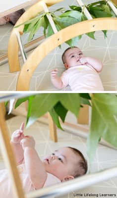 Baby play ideas at 4 months old. Find ideas for your baby play area featuring simple DIY infant and newborn sensory play ideas and ideas for tummy time! Play gyms are a great tool for 5 month and 4 month baby play! Baby Monat Für Monat, Baby Play Areas, Baby Lernen, Baby Playroom, Room Baby, Baby Sensory Play, Play Gym, Baby Development, Baby Games