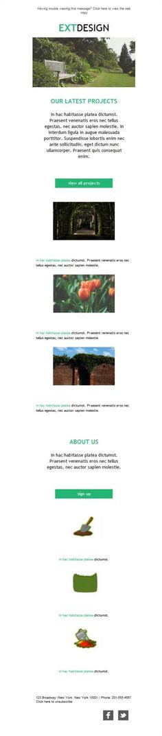 Versión responsive de plantillas newsletters para expertos en servicios de paisajismo o diseñadores de exteriores. ¡Pruébalas!