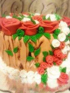 Tronco con flores, pastel de fondant