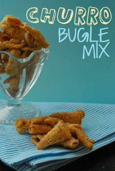 Churro Bugle Mix from the archives. This stuff is crazy-addictive and surprisingly tastes just like a churro! Crunchy and rich, and coated in a delicious buttery cinnamon mixture, don't say I didn't warn you because you WILL eat the whole batch!