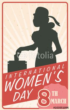 Woman Silhouette Voting in Retro Women's Day Poster