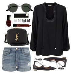Untitled #225 by clary94 on Polyvore featuring polyvore, fashion, style, Emilio Pucci, Current/Elliott, Aquazzura, Yves Saint Laurent, Ray-Ban, Deborah Lippmann, Luv Aj, NYX and clothing