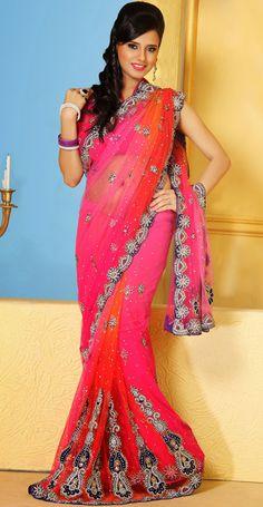 USD 278.26 Magenta Net Wedding Saree 48183