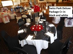 Swiss Park Deluxe C+ half length white tablecloths, black satin overlays, white napkins, black chair covers and black satin bows. Black Chair Covers, Black Satin, Black And White, White Napkins, Satin Bows, Tablecloths, Overlays, Table Settings, Packaging
