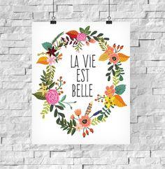 Kunstdruck La Vie Est Belle // art print with flower wreath via DaWanda.com