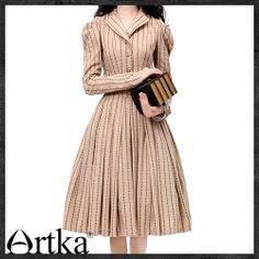 Artka Retro Jacquard Cotton Linen Swing Combo Dress LA10935C   ArtkaFashion - Clothing on ArtFire