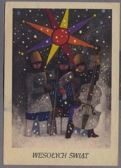 Zbigniew Rychlicki 1965r. Kolędnicy Christmas Gnome, Christmas Themes, Christmas Cards, Merry Christmas, Christmas Decorations, Yule Goat, Anul Nou, Snow Maiden, Polish Posters