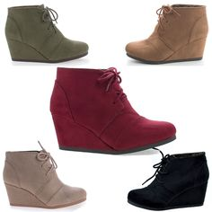 Fashion meets comfort in this faux suede bootie. These ankle wedge booties come in Black faux suede, Black linen, Red Suede(Burgundy). Tan Suede(Hazel), Taupe Suede(Lt Taupe), Khaki, etc. All man made materials. | eBay!