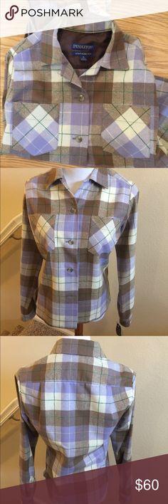 NWT Pendleton Wool Shirt S Beautiful purple/Gray washable wool shirt Vintage fit Size small Pendleton Tops Button Down Shirts