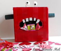 DIY Valentine monster box.  My son would love this to put his Valentine's in at school this year!  Fun!
