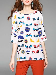 Shop Blouses - Multicolor H-line 3/4 Sleeve Printed Blouse online. Discover unique designers fashion at StyleWe.com.