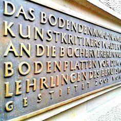 Cologne University of Applied Sciences. Campus Südstadt. Memorial panel for the Nazi book burnings which were held right here in 1933.