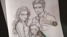 Bella, Nessie and Edward by Rochioo on DeviantArt Twilight Renesmee, Twilight Saga, Saga Art, Celebrity Drawings, Vampire Diaries, Harry Potter, Deviantart, Artist, Kunst