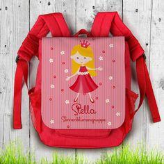 roter Rucksack für Kinder mit süßer Prinzessin, Name des Kindes und Zusatztext | geschenke-online.de