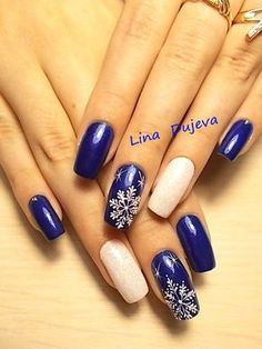 50 Beautiful Stylish and Trendy Nail Art Designs for Christmas Camo Nails, Blue Nails, Holiday Nails, Christmas Nails, Colorful Nail Designs, Nail Art Designs, Nail Deco, Manicure, Lines On Nails